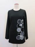 ワイズ , ヨージヤマモト (Y's , yohji yamamoto),テンマルプリント長袖Tシャツ:ブラック