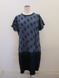 KEI Hayama PLUS(ケイハヤマプリュス),製品洗いドット塩縮プリント半袖ワンピース:ブルー