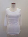 KEI Hayama PLUS(ケイハヤマプリュス),製品洗い強撚フライスバイオ七分袖クルーネックTシャツ:ホワイト