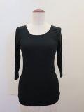 KEI Hayama PLUS(ケイハヤマプリュス),製品洗い強撚フライスバイオ七分袖クルーネックTシャツ:ブラック