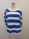 Y's YOHJI YAMAMOTO (ワイズ ヨウジヤマモト),手書きボーダープリントベア天竺フリ袖ツイストTシャツ:ブルー