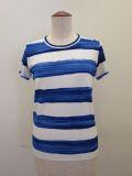 Y's YOHJI YAMAMOTO (ワイズ ヨウジヤマモト),手書きボーダープリントベア天竺丸首はんそでTシャツ:ブルー
