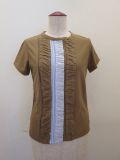 Y's YOHJI YAMAMOTO (ワイズ ヨウジヤマモト),天竺×カノコボーダーニョロニョロ半袖Tシャツ:キャメル