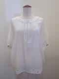 KEI Hayama PLUS(ケイハヤマプリュス),キュプラ綿ブロードワッシャーハンド刺繍半袖プルオーバー:ホワイト