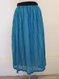 KEI Hayama PLUS(ケイハヤマプリュス),ハイツイストリバーマイヤープリーツ加工ウエストゴムギャザースカート:ブルー