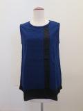 KEI Hayama PLUS(ケイハヤマプリュス),レーシージャガード多素材ミックスノースリーブTシャツ:ブルー