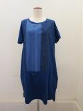 KEI Hayama PLUS(ケイハヤマプリュス),製品洗いレースミックス60/2ギザリヨセル天竺半袖ワンピース:ブルー