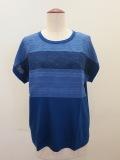 KEI Hayama PLUS(ケイハヤマプリュス),製品洗いレースミックス60/2ギザリヨセル天竺半袖プルオーバー:ブルー