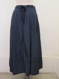 KEI Hayama PLUS(ケイハヤマプリュス),製品洗いテンセルムラ糸ストレッチツイルロングスカート:ネイビー