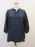 KEI Hayama PLUS(ケイハヤマプリュス),キュプラ綿ブロードワッシャーハンド刺繍七分袖ブラウス:ネイビー