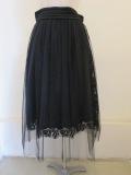 ロジェ(ROSIER),レースオンチュールギャザースカート:ブラック