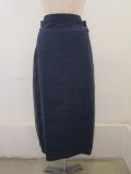 ロジェ(ROSIER)ハイウエストサイドラインタイトスカート:インクブルー