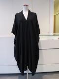Y's YOHJI YAMAMOTO (ワイズ ヨウジヤマモト),テンセルキュプラツイルチビ衿フレアードレス:ブラック