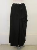 Y's YOHJI YAMAMOTO (ワイズ ヨウジヤマモト),強撚エムリギャバ左ヨーク切り替えスカート:ブラック