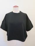 Y's YOHJI YAMAMOTO (ワイズ ヨウジヤマモト),ガーゼソフト裏毛シュート丈半袖プルオーバー:ブラック