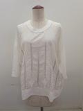 KEI Hayama PLUS(ケイハヤマプリュス),シルクコットン×綿麻交織シーチングハンド刺繍丸首五分袖ブラウス:ホワイト