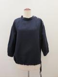 KEI Hayama PLUS(ケイハヤマプリュス),テンセルリネンツイルワッシャー加工七分袖裾紐ブラウス:ネイビー