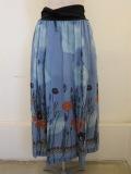 KEI Hayama PLUS(ケイハヤマプリュス),ラベンダースカイプリントテンセルキュプラローンウエストジヤージギャザースカート:ブルー