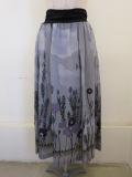 KEI Hayama PLUS(ケイハヤマプリュス),ラベンダースカイプリントテンセルキュプラローンウエストジヤージギャザースカート:グレー