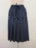 ラス:ウエストゴムタックプリーツスカート:ネイビー