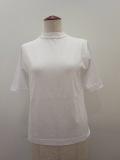 KEI Hayama PLUS(ケイハヤマプリュス),コットンシルク天竺台襟半袖Tシャツ:ホワイト