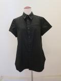 Y's YOHJI YAMAMOTO (ワイズ ヨウジヤマモト),100/2綿ブロード左胸スリットポケット半袖シャツ:ブラック