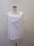 Y's YOHJI YAMAMOTO (ワイズ ヨウジヤマモト),100/2綿ブロード前開き後ろフレアフレンチ袖ブラウス:ホワイト
