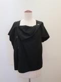Y's YOHJI YAMAMOTO (ワイズ ヨウジヤマモト),100/2綿ブロード前開き後ろフレアフレンチ袖ブラウス:ブラック