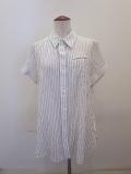 Y's YOHJI YAMAMOTO (ワイズ ヨウジヤマモト),シャーリングストライプ左胸スリットポケット半袖ブラウス:ホワイト