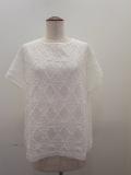 KEI Hayama PLUS(ケイハヤマプリュス),製品洗いダイヤ柄レース×サイロ天竺半袖プルオーバー:オフホワイト