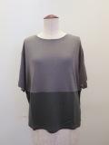 ロジェ(ROSIER),テンセルキュプラローゲージ丸首カラーコントラスト半袖Tシャツ:ミディアムグレー
