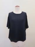 ロジェ(ROSIER),テンセルキュプラローゲージ丸首カラーコントラスト半袖Tシャツ:ダークネイビー