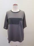 ロジェ(ROSIER),テンセルキュプラローゲージバスト切り替え半袖Tシャツ:ミディアムグレー