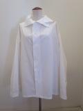 Y's YOHJI YAMAMOTO (ワイズ ヨウジヤマモト),100/2綿ブロードアシンメトリ衿ビッグブラウス:ホワイト