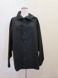 Y's YOHJI YAMAMOTO (ワイズ ヨウジヤマモト),100/2綿ブロードアシンメトリ衿ビッグブラウス:ブラック