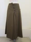 Y's YOHJI YAMAMOTO (ワイズ ヨウジヤマモト),綿ツイルヨーク切り替えスカート:カーキ