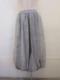 KEI Hayama PLUS(ケイハヤマプリュス),綿シルクギンガム×シルクドットプリントウエストゴムバルーンスカート:グレー