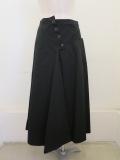 Y's YOHJI YAMAMOTO (ワイズ ヨウジヤマモト),綿ツイルヨーク切り替えスカート:ブラック