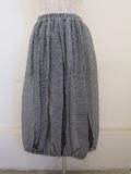 KEI Hayama PLUS(ケイハヤマプリュス),綿シルクギンガム×シルクドットプリントウエストゴムバルーンスカート:ブラック
