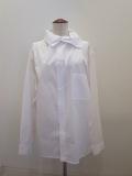 Y's YOHJI YAMAMOTO (ワイズ ヨウジヤマモト),100/2綿ブロードアシンメトリハイネックシャツ:ホワイト