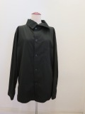 Y's YOHJI YAMAMOTO (ワイズ ヨウジヤマモト),100/2綿ブロードアシンメトリハイネックシャツ:ブラック