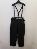Y's YOHJI YAMAMOTO (ワイズ ヨウジヤマモト),16番ムラ糸ツイルギャザーポケットサスペンダーパンツ:ブラック