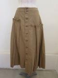 Y's YOHJI YAMAMOTO (ワイズ ヨウジヤマモト)16番ムラ糸ツイルアシメプリーツスカート:ベージュ