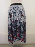 KEI Hayama PLUS(ケイハヤマプリュス),花のかたち花びらのかたちプリントグログランギャザースカート:ネイビー
