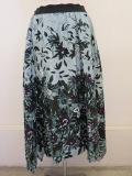 KEI Hayama PLUS(ケイハヤマプリュス),花のかたち花びらのかたちプリントグログランギャザースカート:グリーン