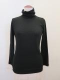 me ISSEY MIYAKE (ミー イッセイミヤケ),ウールテンセルジャージ七分袖ハイネックTシャツ:ブラック