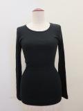 KEI Hayama PLUS(ケイハヤマプリュス).綿ウールクルーネックリブTシャツ:ブラック