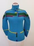 me ISSEY MIYAKE (ミー イッセイミヤケ),カラーラインハイネック長袖Tシャツ:ターコイズ