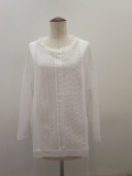KEI Hayama PLUS(ケイハヤマプリュス),製品洗いレースミックススピンギザ天竺長袖Tシャツ:ホワイト