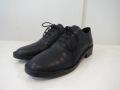 Y's YOHJI YAMAMOTO (ワイズ ヨウジヤマモト)、スムースレザーステッチダウン短靴:ブラック